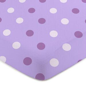 4Home Jersey prostěradlo Puntík fialová , 160 x 220 cm