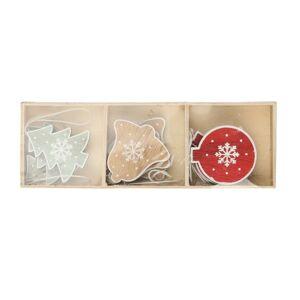 Altom Sada dřevěných vánočních ozdob Mix 9, 9 ks
