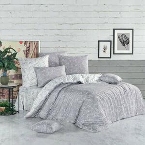 Bavlněné povlečení Flores stříbrná, 140 x 200 cm, 70 x 90 cm