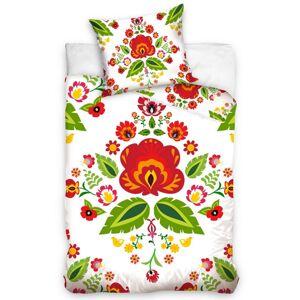 Tiptrade Bavlněné povlečení Folklor Lidové Květy bílá, 140 x 200 cm, 70 x 90 cm