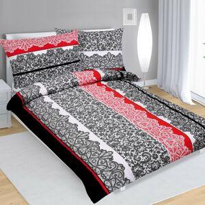 Bavlněné povlečení Krajka černočervená , 140 x 220 cm, 70 x 90 cm