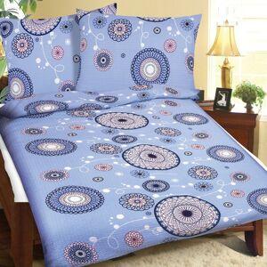Bellatex Krepové povlečení Mandala světle modrá, 140 x 200 cm, 70 x 90 cm