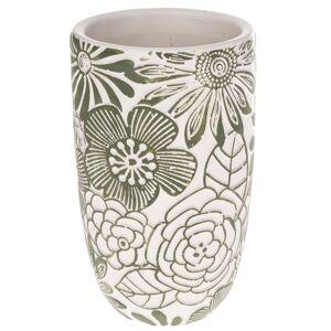 Betonová váza Flower, zelená,  12,5 x 21 x 12,5 cm