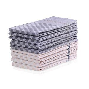 DecoKing Kuchyňská utěrka Louie béžová, tm. šedá, 50 x 70 cm, sada 10 ks