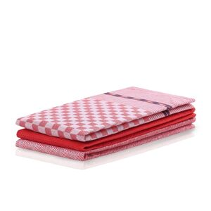 DecoKing Kuchyňská utěrka Louie červená, 50 x 70 cm, sada 3 ks