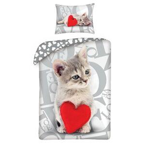 Dětské bavlněné povlečení Love Cat, 140 x 200 cm, 70 x 90 cm