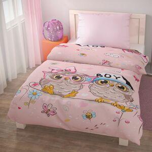 Dětské bavlněné povlečení PUHU růžová, 140 x 200 cm, 70 x 90 cm