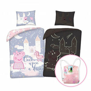 Herding Dětské bavlněné povlečení Peppa Pig svítící, 140 x 200 cm, 70 x 90 cm + dárek zdarma