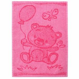 Dětský ručník Bear pink, 30 x 50 cm