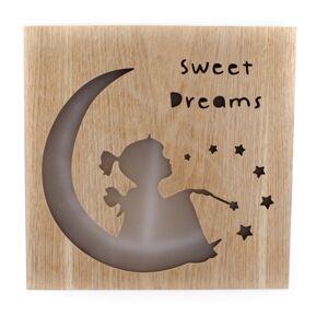 Dřevěná závěsná svíticí dekorace Sweet dreams, 25 x 25 cm