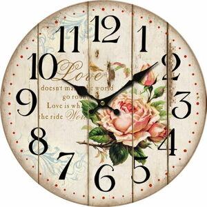 Dřevěné nástěnné hodiny Flower of love, pr. 34 cm