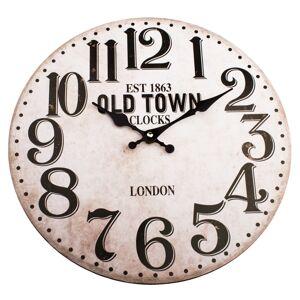 Dřevěné nástěnné hodiny Old town clock, pr. 34 cm