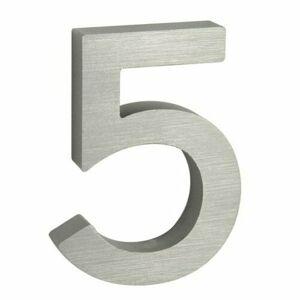 Hliníkové domovní číslo 5, 3D broušený povrch