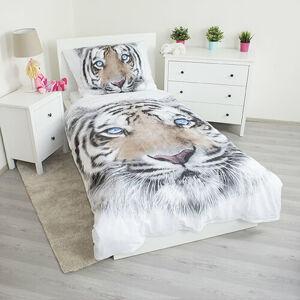 Jerry Fabrics Bavlněné povlečení White Tiger, 140 x 200 cm, 70 x 90 cm