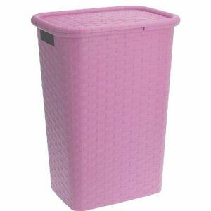 Koš na prádlo 60 l, růžová