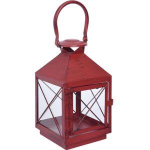 Kovová lucerna Alvito červená, 14,5 x 25 cm