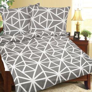 Krepové povlečení Geometrie šedobílá, 140 x 220 cm, 70 x 90 cm