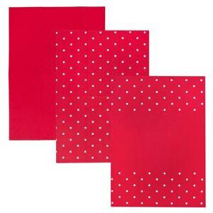 Kuchyňská utěrka Tečka červená, 50 x 70 cm, sada 3 ks