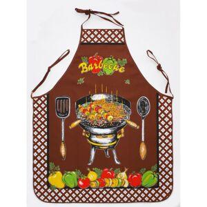 Kuchyňská zástěra a chňapka Barbecue hnědá, 75 x 80 cm, 18 x 28 cm