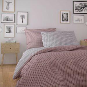 Kvalitex Bavlněné povlečení Nordic Kare růžová, 140 x 200 cm, 70 x 90 cm
