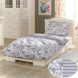 Kvalitex Bavlněné povlečení Provence Montera šedá, 140 x 220 cm, 70 x 90 cm