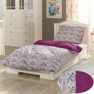 Kvalitex Bavlněné povlečení Provence Narista purpurová, 200 x 200 cm, 2 ks 70 x 90 cm