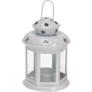 Lucerna na čajovou svíčku Tharsis bílá, 14 cm