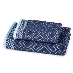 Osuška a ručník Geometrie modrá, sada 2 ks