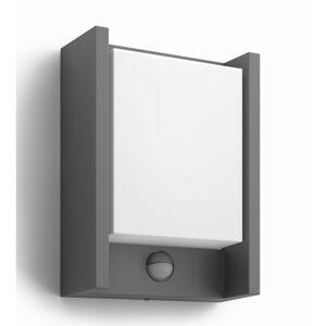 Philips 16461/93/16 Arbour Venkovní nástěnné LED svítidlo s čidlem 22 cm, antracit
