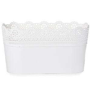 Plastový květináč s krajkou Lace, bílá