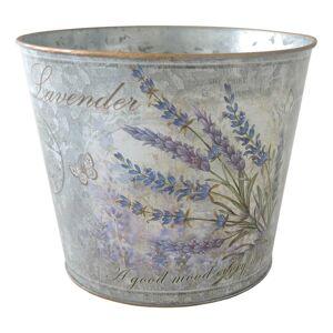 Plechový květináč lavender, 18 x 15 cm