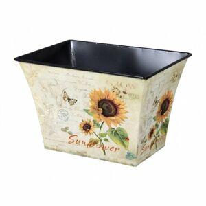 Plechový obal na květináč Slunečnice, 12 x 17 x 12 cm