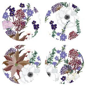 AG Art Podložka pod hrnek Flowers colour, kulatá,pr. 10 cm, sada 4 ks