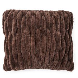 Povlak na polštářek chlupatý prošívaný hnědá, 45 x 45 cm