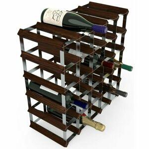 Stojan na víno RTA na 30 lahví, tmavá borovice - pozinkovaná ocel / rozložený