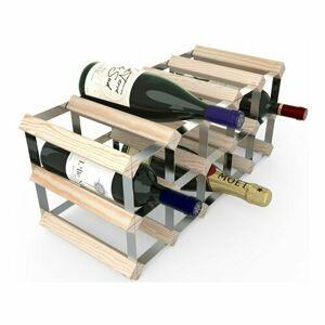 Stojan na víno RTA na 15 lahví, přírodní borovice - pozinkovaná ocel / rozložený