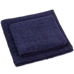 Sada ručníku a osušky Jerry tmavě modrá, 50 x 100 cm, 70 x 140 cm
