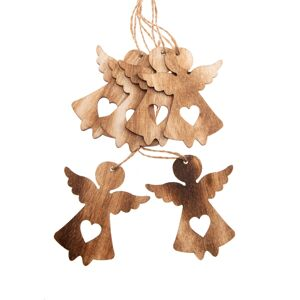 Sada vánočních dřevěných ozdob Anděl natur, 6 ks