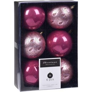Sada vánočních ozdob Fraisse růžová,  6 ks, pr. 8 cm