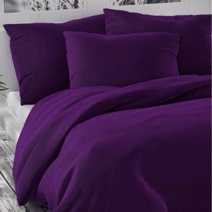 Saténové povlečení Luxury Collection tmavě fialová, 220 x 220 cm, 2 ks 70 x 90 cm