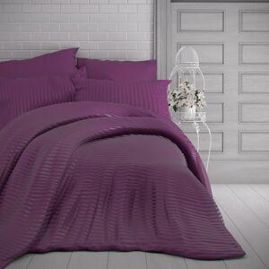 Kvalitex Saténové povlečení Stripe purpurová, 200 x 200 cm, 2 ks 70 x 90 cm