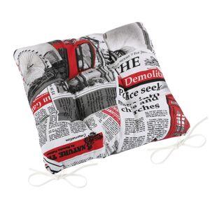 Sedák Ema prošívaný Noviny červená, 40 x 40 cm