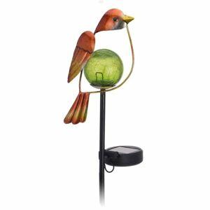 Solární lampa Bird oranžová, 13 x 6 x 52 cm