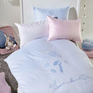 Stella Ateliers Dětské damaškové povlečení Oskars Abenteuer růžová, 100 x 135 cm, 40 x 60 cm