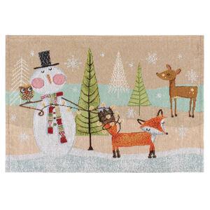 Vánoční prostírání Zvířátka hnědá, 33 x 48 cm