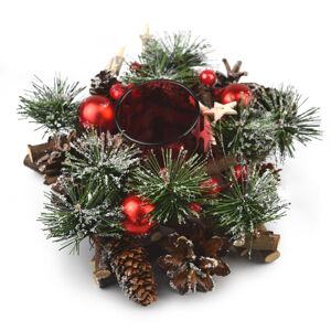 Vánoční ratanový svícen Neige červená, 20 cm