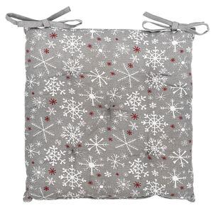 Vánoční sedák Vločka šedá, 40 x 40 cm