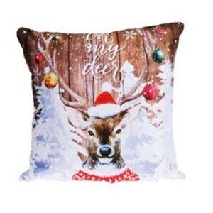 Vánoční svítící polštářek s LED světýlky Jelen, 39 x 39 cm