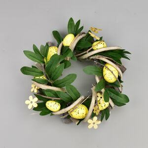 Velikonoční ratanový věnec Rosita žlutá, 22 cm
