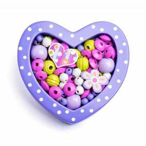 Woody Navlékací korálky v krabičce Malé srdíčko fialové